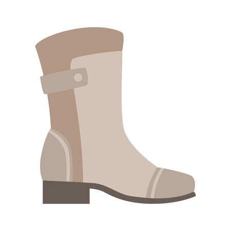 Grey Wellington Boot, Isolated Footwear Flat Icon, Shoes Store Assortment Item Illustration