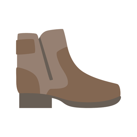 Sturdy Brown Shoe With Zip, Isolated Footwear Flat Icon, Shoes Store Assortment Item Illustration