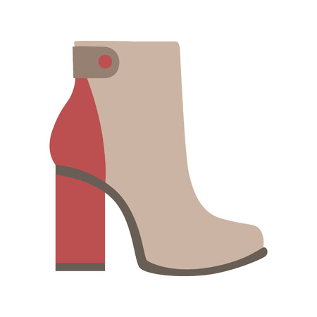 High Sturdy Heel Red And Grey Female Boot, Isolated Footwear Flat Icon