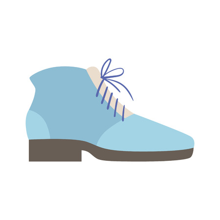 simple store: Blue Lace-up Shoe, Isolated Footwear Flat Icon, Shoes Store Assortment Item