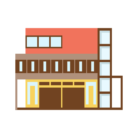 Brown And REd Shopping Mall Modern Building Exterior Design Project Template Isolated Flat Illustration