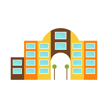 Shopping Mall Modern Building Exterior Design Project With Large Arch Template Isolated Flat Illustration
