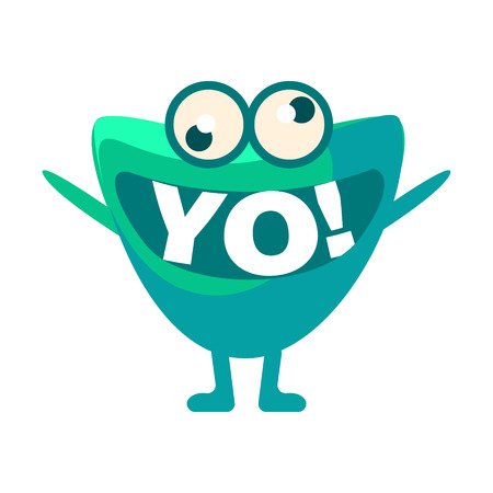 word of mouth: Green Blob Saying Yo, Cute Emoji Character With Word In The Mouth Instead Of Teeth, Emoticon Message