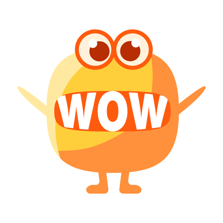 Orange Blob Saying Wow, Cute Emoji Character With Word In The Mouth Instead Of Teeth, Emoticon Message Illustration