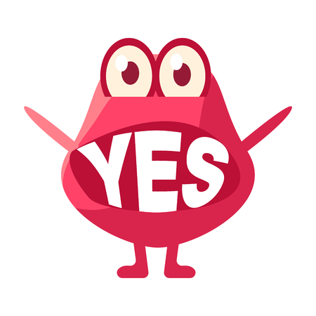 Pink Blob Saying Yes, Cute Emoji Character With Word In The Mouth Instead Of Teeth, Emoticon Message