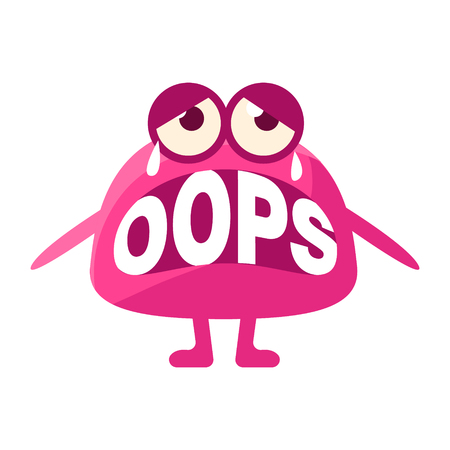 Pink Blob Saying Oops, Cute Emoji Character With Word In The Mouth Instead Of Teeth, Emoticon Message