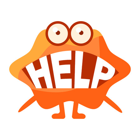 Orange Blob Saying Help, Cute Emoji Character With Word In The Mouth Instead Of Teeth, Emoticon Message