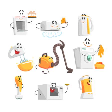 Glimlachende huishoudelijke apparaten ingesteld voor label ontwerp. Kleurrijke gedetailleerde vectorillustraties