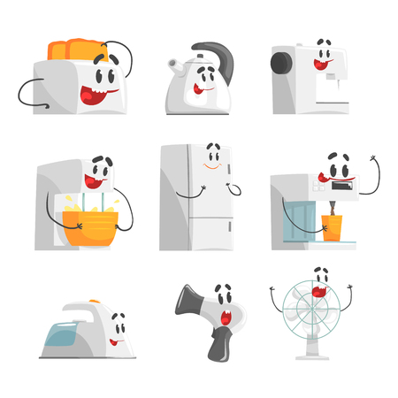 Glimlachende huishoudapparaten die voor etiketontwerp worden geplaatst. Elektrische huishoudapparatuur als stripfiguren. Kleurrijke gedetailleerde vectorillustraties Vector Illustratie