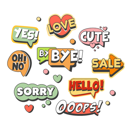 Comic speech bubbles for different emotions and sound effects set for label design. Speech bubbles with short messages. Colorful cartoon detailed