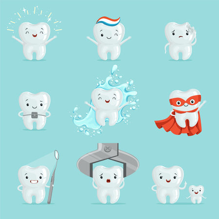 Cute teeth with different emotions set for label design. Cartoon detailed Illustrations Illustration