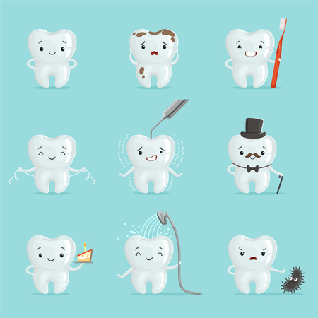 White teeth with different emotions set for label design. Cartoon detailed Illustrations