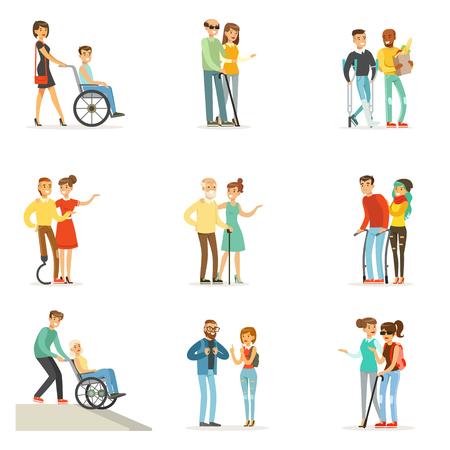Hulp en zorg voor mensen met een handicap ingesteld voor labelontwerp. Cartoon gedetailleerde kleurrijke illustraties