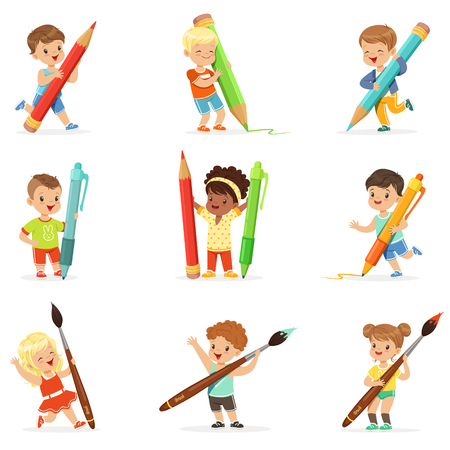 Smiling young boys and girls holding big pencils, pens and paintbrushes, set for label design. Cartoon detailed colorful Illustrations