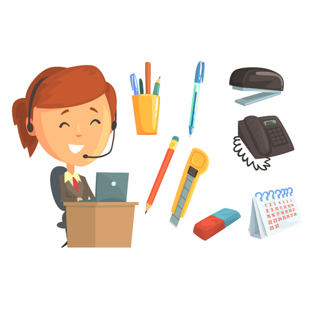 call centre girl: Smiling woman in headset, set for label design. Work in the office, office supplies. Colorful cartoon detailed Illustrations