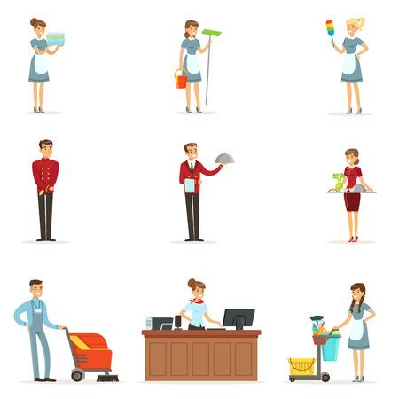 Hotel staff set for label design. Colorful cartoon detailed Illustrations Ilustração