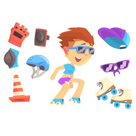 knee boots: Roller skating boy, set for label design. Colorful cartoon detailed Illustrations