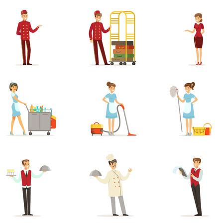 hotel staff: Staff in the hotel set for label design. Receptionist, cook, waiter, maid, porter. Colorful cartoon detailed Illustrations Illustration