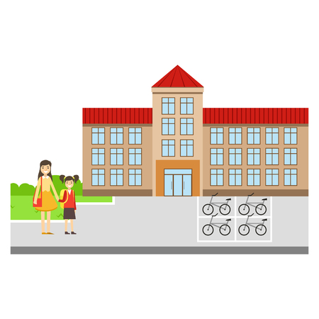 Mother And Daughter Outside The School Building, Part Of School And Scholar Life Series Of Minimalistic Illustrations