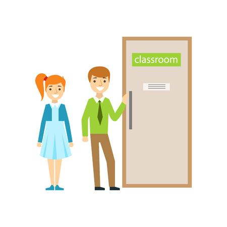 少年と少女は教室のドア、学校の一部とミニマルなイラストの学者生活シリーズの前に
