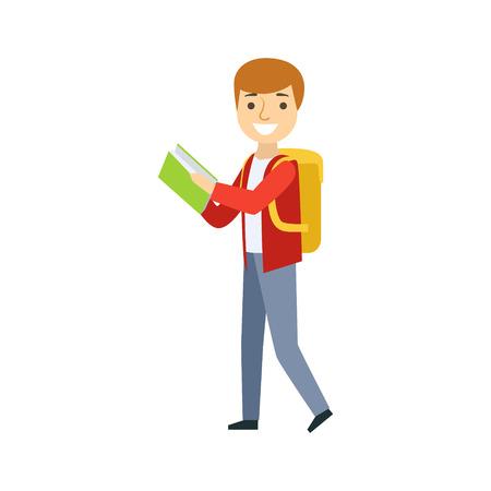 Jongen die met Rugzak loopt die een Boek, een Deel van de Reeks van het Leven van de School en van de Geleerde van Illustraties Minimalistic leest Stock Illustratie