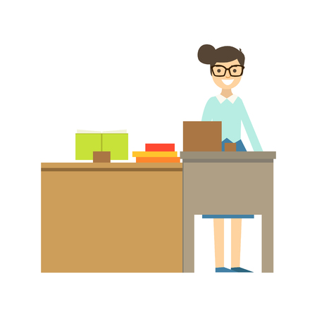 Teacher In Glasses Standing Behind The Desk Smiling, Part Of School And Scholar Life Series Of Minimalistic Illustrations 向量圖像