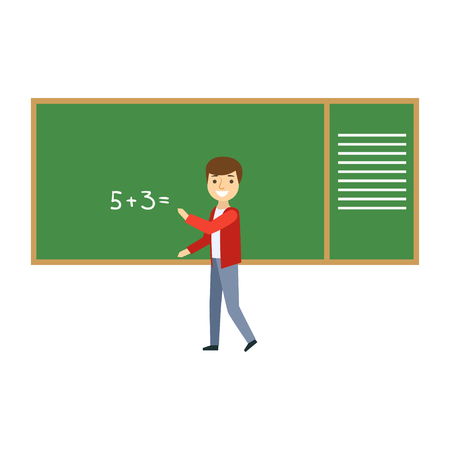 answering: Boy Solving Math Problem On Blackboard In Classroom, Part Of School And Scholar Life Series Of Minimalistic Illustrations Illustration
