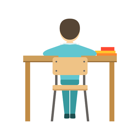 Boy Sitting At His Desk In Classroom, Part Of School And Scholar Life Series Of Minimalistic Illustrations