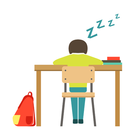 Sleeping Boy Sitting At The Desk In Classroom, Part Of School And Scholar Life Series Of Minimalistic Illustrations