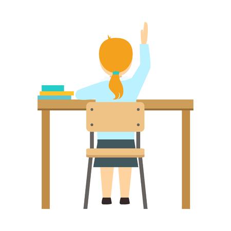 Meisje Raising De Hand Zitten Op De Bureaublad In De Klas, Een Deel Van School En Scholar Levensreeks Van Minimalistische Illustraties