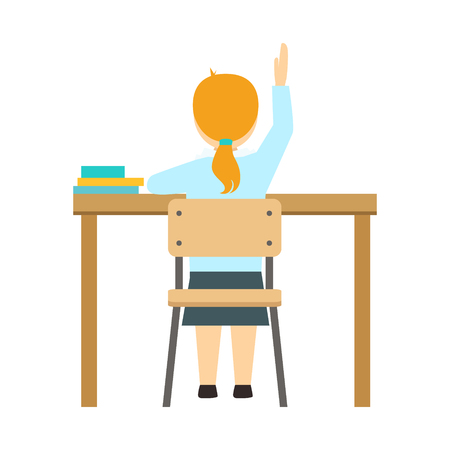 Girl Raising The Hand Sitting At The Desk In Classroom, Part Of School And Scholar Life Series Of Minimalistic Illustrations Illustration