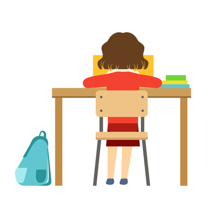 Girl Reading The Book Sitting At The Desk In Classroom, Part Of School And Scholar Life Series Of Minimalistic Illustrations Illustration