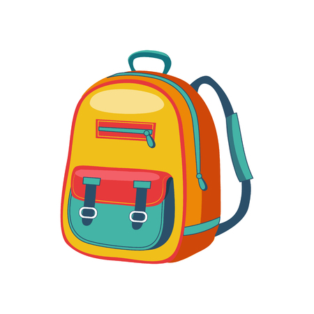 Yellow And Blue Schoolkid Backpack, Set Of School And Education Related Objects In Colorful Cartoon Style