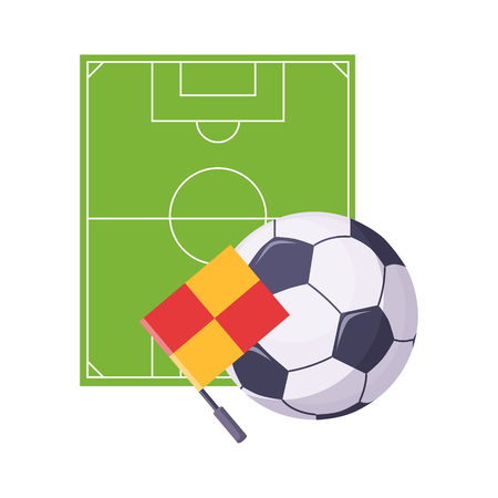 Football Field, Ball And Flag, Set Of School And Education Related Objects In Colorful Cartoon Style