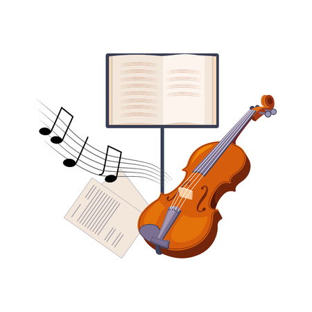 Violin And Musical Notebook, Set Of School And Education Related Objects In Colorful Cartoon Style Illustration