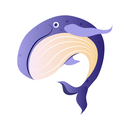 Cachalot or sperm whale, sea creature. Colorful cartoon character Çizim