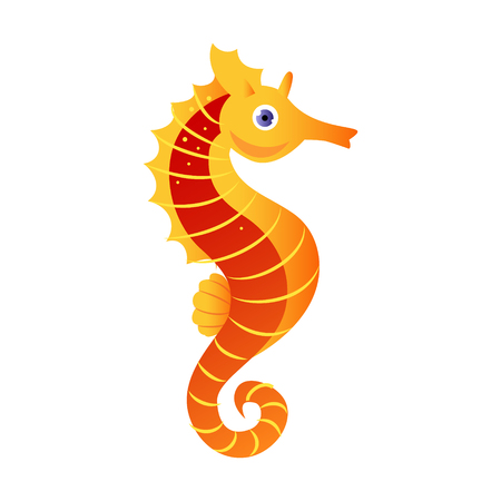 Seahorse or hippocampus, sea creature. Colorful cartoon character Illustration