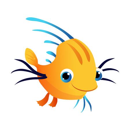 Small cute yellow fish. Sea, tropical, aquarium fish. Colorful cartoon character