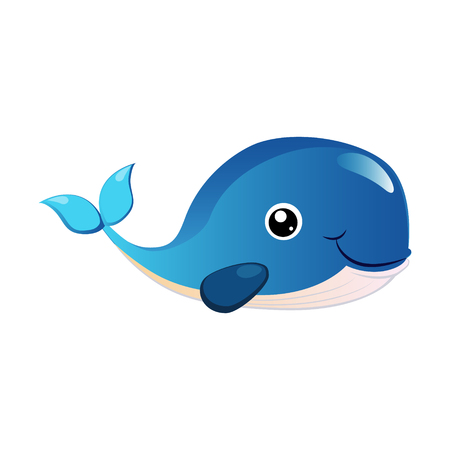 Blue humpback whale, sea creature. Colorful cartoon character Stok Fotoğraf - 76172541