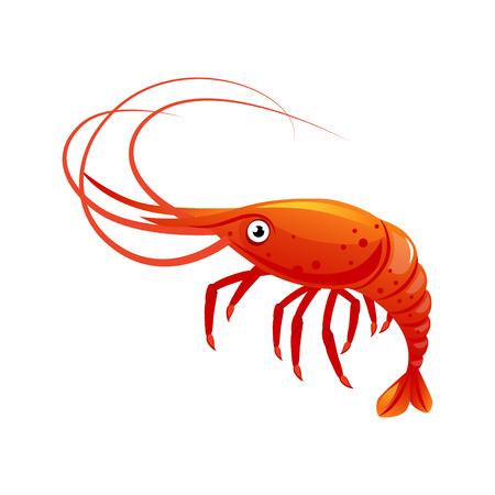 エビ、海の生き物、海の幸。カラフルな漫画文字 v  イラスト・ベクター素材
