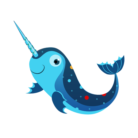 Blue marlin fish or swordfish. Sea, tropical, aquarium fish. Colorful cartoon character