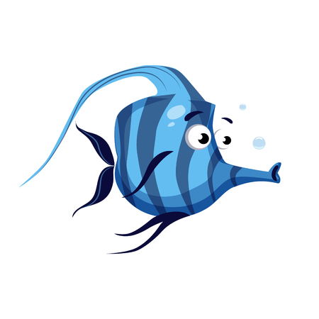 Tropical blue striped fish with a long nose. Sea, tropical, aquarium fish. Colorful cartoon character