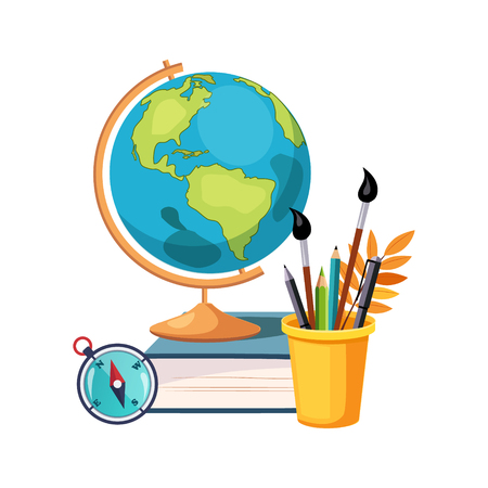 Geography, Globe And Writing Tools, Set Of School And Education Related Objects In Colorful Cartoon Style