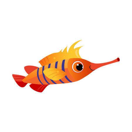 Orange longnose fish. Sea, tropical, aquarium fish. Colorful cartoon character Illustration