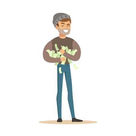 Dieb stehlen viel Geld. Bunte Cartoon Zeichen Vektor Illustration Standard-Bild - 76172549