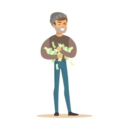 Thief stealing a lot of money. Colorful cartoon character vector Illustration Stok Fotoğraf - 76172549