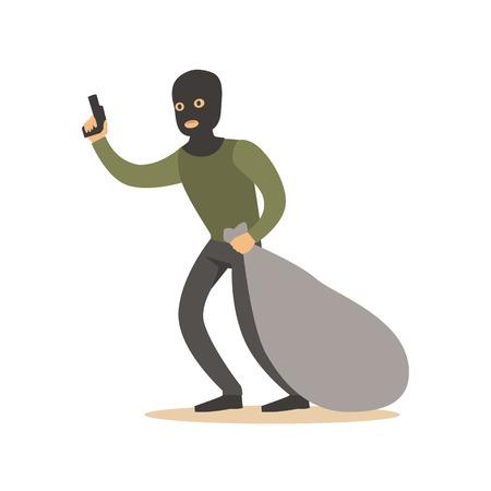 Räuber in der Maske mit riesigem Sack und Gewehr. Bunte Zeichentrickfilm-Figur-Vektor Illustration Standard-Bild - 76172553
