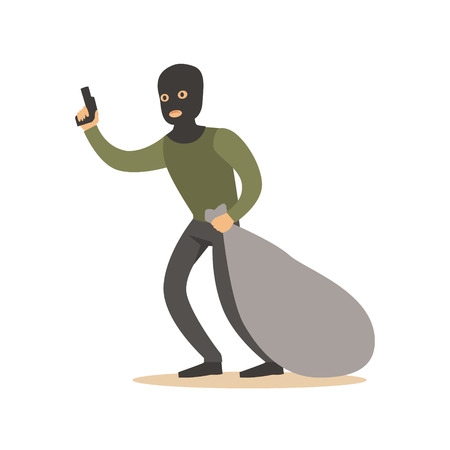 Robber in mask with huge sack and gun. Colorful cartoon character vector Illustration Stock Photo