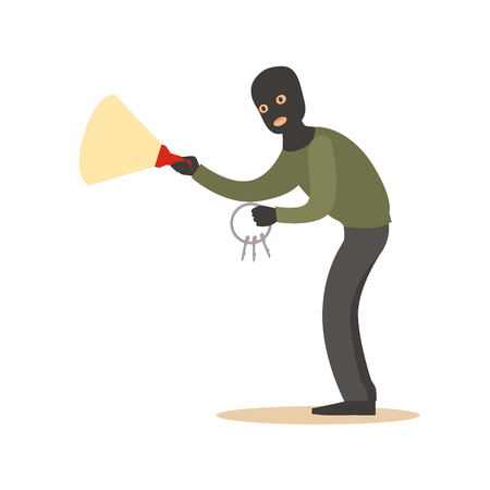 Thief in a black mask with master keys and flashlight. Colorful cartoon character vector Illustration