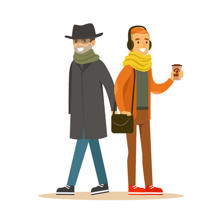 Pickpocket trying to steal wallet from man in headphones. Colorful cartoon character vector Illustration Stock Photo
